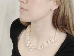 Snow Gypsophila Princess - 40cm illusion pearl necklace by Jacqueline Shaw London