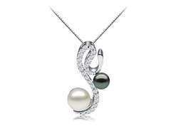 Kim Novak - double pearl on snake shaped white gold finish silver base - Jacqueline Shaw