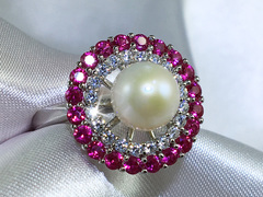 Barcelona - hot pink CZ and freshwater pearl ring by Jacqueline Shaw