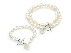 Amor - large baroque pearl single strand pearl necklace and bracelet set, perfect for bridesmaids