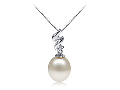 Joan Crawford white oval freshwater pearl pedant with zigzag style zirconia base