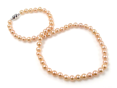 Lolita Rose - classic princess length 18 inch pearl necklace with apricot colour freshwater pearls