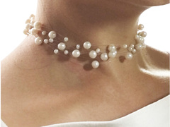 illusion pearls necklace, Snow Gypsophila Choker floating style pearl necklace
