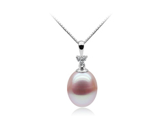 Marlene Dietrich - lavender colour oval freshwater pearl on elegant rhodium finish zirconia silver base