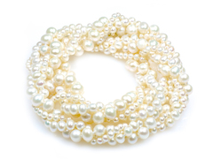 Viona opera - luxurious wedding pearl necklace: treble strand opera length pearl necklace with three different sizes of pearls