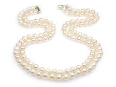 Claire - wedding pearls necklace, double strand cream white freshwater pearls with AA+ rating