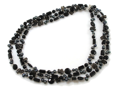 Miss coco - luxurious evening dress companion - long treble strand black pearl and gemstone necklace