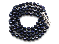 Victoria - super luxurious four strand black pearl bracelet with AAA quality black freshwater pearls