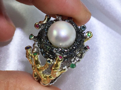 Tresor - art deco pearl ring design by Jacqueline Shaw London