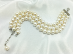 Monaco three strand wedding pearl bracelet with extension chain