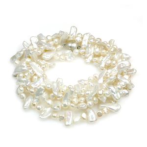 Luxe - long opera length wedding pearl necklace made with baroque and stick pearls