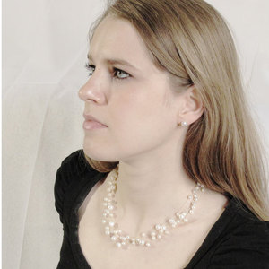 Snow Gypsophila Princess - 40cm illusion pearl necklace by Jacqueline Shaw London