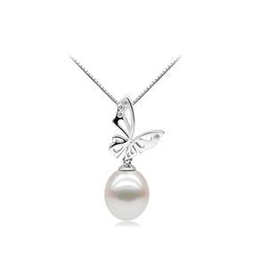 Audrey Hepburn white freshwater pearl pendant with butterfly silver base design