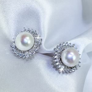 Alicia V - Freshwater Pearl Ear Studs - Wedding Pearl Earrings