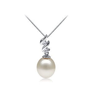 Joan Crawford white oval freshwater pearl pedant with zigzag style zirconia base