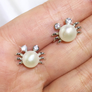Ariel - little crab design pearl ear studs by Jacqueline Shaw