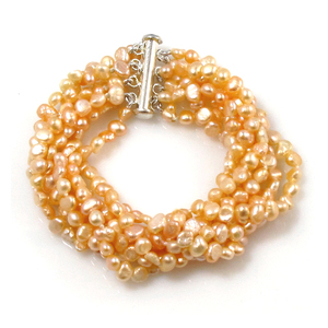 Sally - vintage style seven strand tiny pink baroque pearl bracelet, rich and sexy look