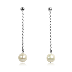 Lola - chic and elegant long dangling pearl earrings with single round freshwater pearls on thin silver chain