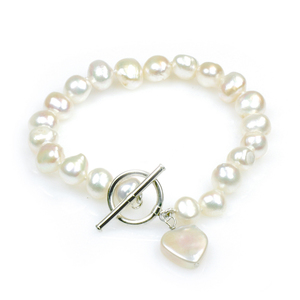 Amor - large baroque pearl single strand pearl bracelet with a heart shaped coin pearl pendant
