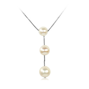 Marilyn - beautiful three pearls on silver string design pearl pendant, with round freshwater pearls