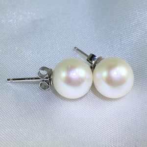 Lucy Royale - 9mm large freshwater pearl ear studs by Jacqueline Shaw London