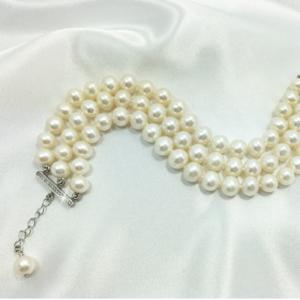 Monaco three strand wedding pearl bracelet with extension chain