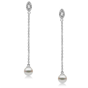 Alida Valli - elegant long dangling pearl earrings with perfectly round freshwater pearls on long silver chain