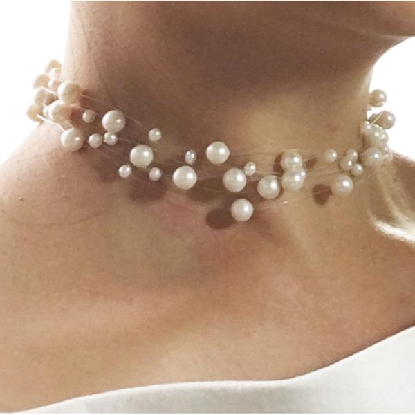 Snow Gypsophila Choker - Pearl Choker by Jacqueline Shaw Boutique