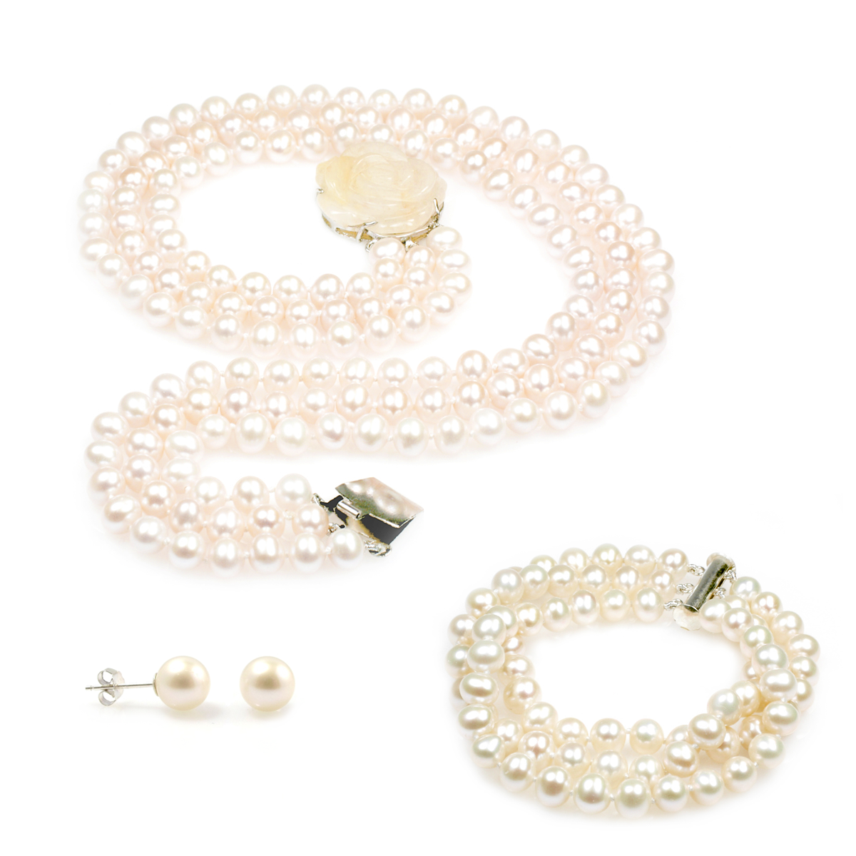 Snow White pearl bridal jewellery set - Luxurious Three Strand ...