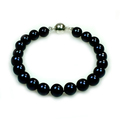 Edith - classic and elegant single black pearl bracelet made with top quality black pearls