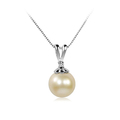 Deborah Kerr - Luxurious wedding pearl pendant necklace, single pearl on simple elegant base design with one created diamond