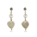 Amor - cute silver stud pearl earrings with round and heart shaped coin pearls, part of the Amor pearl set