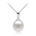 Katniss pearl pendant with oval freshwater pearl and minimalist silver base