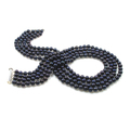 Victoria - super luxurious four strand black pearl necklace with AAA quality black freshwater pearls