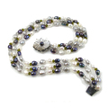 Penelope - vintage style treble strand pearl necklace, large baroque white, grey and dark blue pearls and crystal stones, mother of pearl clasp