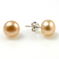 Dolly Rose - pink apricot colour button stud pearl earrings
