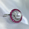 pink gemstone pearl ring