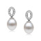 Loretta Young - Elegant pearl earrings with created diamonds oval base