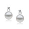 Ella Raines - Elegant perfectly round pearl ear studs with tiny created diamond on silver base