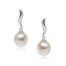 Alice White - elegant large oval pearl earrings on minimalist silver base, piercing earrings