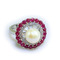 Barcelona pearl ring with lab created rubies