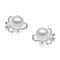 Ava Gardner - Lovely pearl stud earrings with intricate silver and created diamond base design