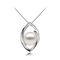 Clara Bow - round button freshwater pearl pendant on bow shaped silver base