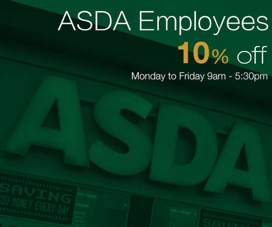 Asda Employees get a 10% Discount -- Monday to Friday 9am - 5:30pm Only