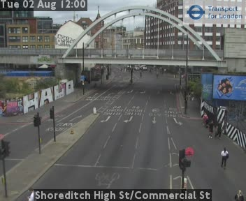 Shoreditch High Street / Commercial Street traffic camera.
