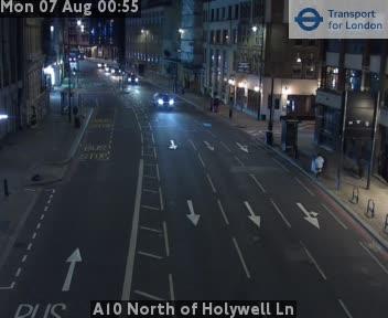 A10 North of Holywell Lane traffic camera.