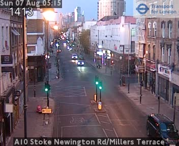 A10 Stoke Newington Road / Millers Terrace traffic camera.