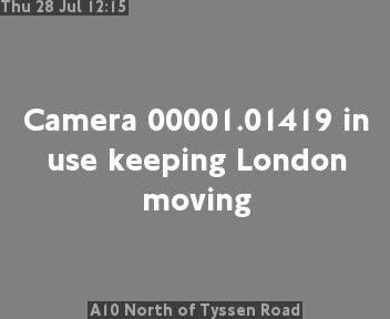 A10 North of Tyssen Road traffic camera.
