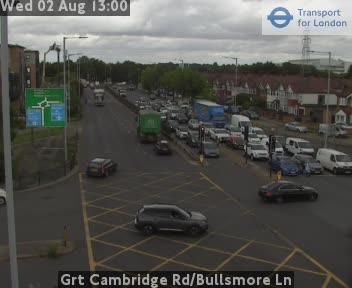 Great Cambridge Road / Bullsmore Lane traffic camera.