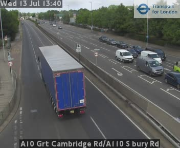 A10 Great Cambridge Road / A110 S bury Road traffic camera.